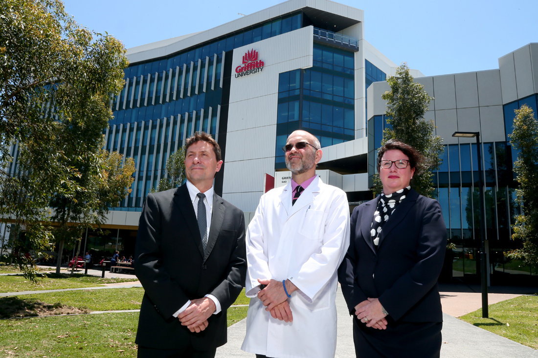 The Menzies Centre, Griffith University. Pictured: Richard Holder - MetaGene Managing Director, Dr Eugen Petcu of the Mensies Centre along with Melissa Whitehouse of MetaGene. Photography: David Clark Photography